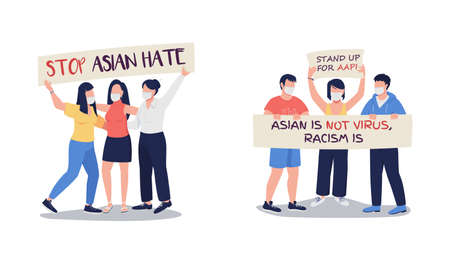 Demonstration for fighting against anti-asian violence flat color vector faceless characters set. Public gatherings isolated cartoon illustrations collection for web graphic design and animation