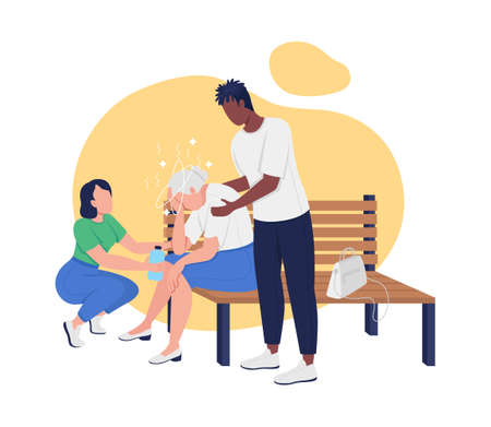 Heat stroke in elderly 2D vector isolated illustration. Older adult suffering from overheating and dizziness flat characters on cartoon background. Providing first aid for sunstroke colorful scene 矢量图像