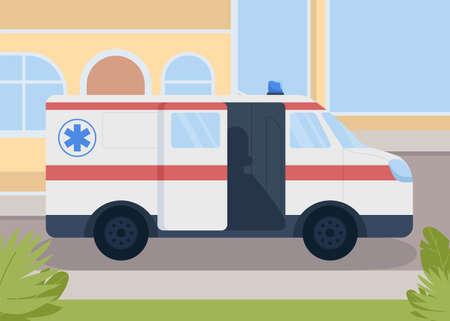 Medical transportation flat color vector illustration. Healthcare service. Paramedics transport. Early medical care. Ambulance 2D cartoon emergency response car with hospital on background 矢量图像