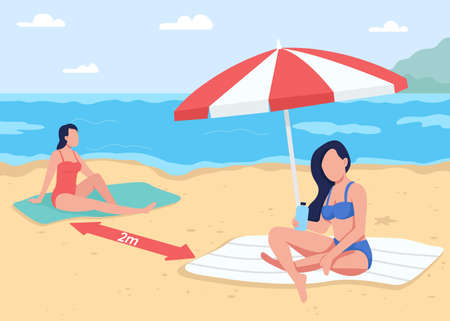 Social distancing at beach flat color vector illustration. Summer vacation. Keep 2m apart from other people. Sunbathing young women 2D cartoon faceless characters with seascape on background