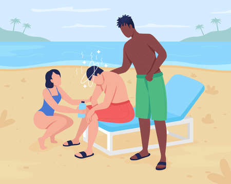 Heat stroke at beach flat color vector illustration. Experiencing dizziness after body overheating. Helping man with heat exhaustion 2D cartoon faceless characters with oceanscape on background