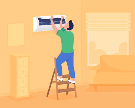 Installing air conditioning in wall flat color vector illustration. Maintaining comfortable temperature indoors. Man checking air conditioner 2D cartoon faceless character with apartment on background