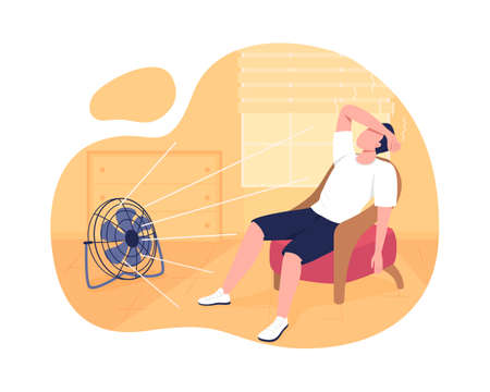 Cooling home at summer 2D vector isolated illustration. Lowering body temperature. Man suffering from summer heat flat character on cartoon background. Sunstroke avoiding colorful scene