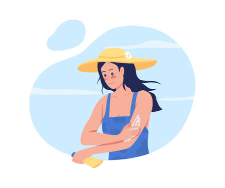 Girl applying sunscreen lotion on arms 2D vector isolated illustration. Skincare routine. Young woman in straw hat flat character on cartoon background. Spending time at beach colorful scene