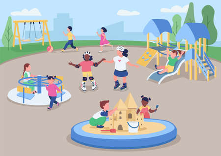 Outdoor playground flat color vector illustration. Kids having fun outside. Preschoolers playing together. Kindergarten ground 2D cartoon characters with urban landscape on background 矢量图像