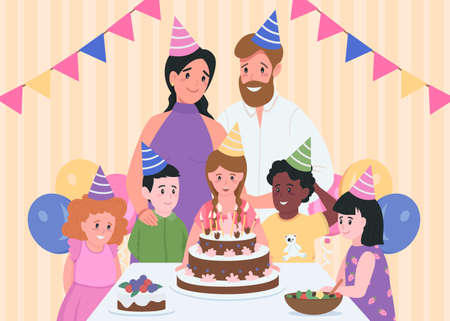 Kids birthday indoors flat color vector illustration. Parents in party hats. Girl ready to blow candles on cake. Family and friends 2D cartoon characters with home interior on background 矢量图像