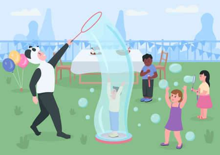 Kids birthday in the backyard flat color vector illustration. Children playing and blowing soap bubbles. Kindergarten entertainment 2D cartoon characters with table with snacks on background 矢量图像
