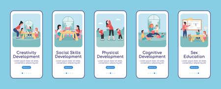 Children development onboarding mobile app screen flat vector template. Walkthrough website 5 steps with characters. Creative daycare UX, UI, GUI smartphone cartoon interface, case prints set