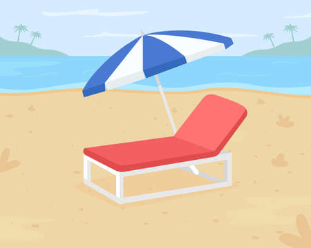 Relaxing beach vacation flat color vector illustration. Beach destination. Outdoor chair for sandy surfaces. Chilling out on 2D cartoon sun lounger under umbrella with seashore on background