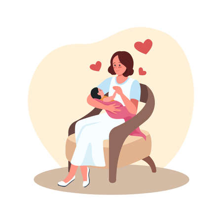 Mother and newborn in chair 2D vector isolated illustration. Parent with baby. Happy mom with infant in arms flat characters on cartoon background. Motherhood and childcare colorful scene