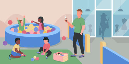 Shopping mall playground flat color vector illustration. Kids having fun in pool with plastic balls. Children and adult supervisor 2D cartoon characters with supermarket playzone on background