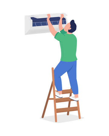 Man with air conditioner semi flat color vector character. Engaged figure. Full body person on white. Cooling indoor air isolated modern cartoon style illustration for graphic design and animation