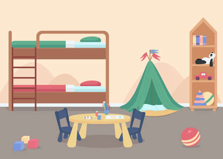Child bedroom for male toddler flat color vector illustration. Kids room with toys. Home furniture for comfortable lifestyle. Kindergarten room 2D cartoon characters with bunk bed on background