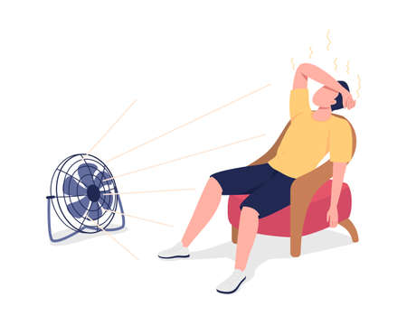 Reducing body heat with fan semi flat color vector character. Overheated figure. Full body person on white. Summertime isolated modern cartoon style illustration for graphic design and animation 矢量图像