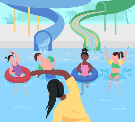 Water park fun flat color vector illustration. Gymnastics for children. Entertainment at aqua park. Exercise and sport. Kindergarten kids 2D cartoon characters with amusement park on background