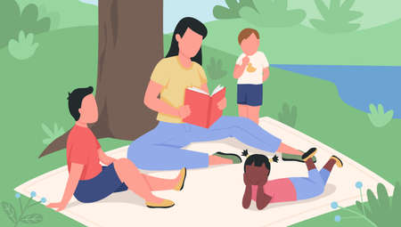 Girl reading book to kids in the park flat color vector illustration. Pastimes in daycare. Teacher with children relax. Kindergarten class outdoors 2D cartoon characters with nature on background 矢量图像