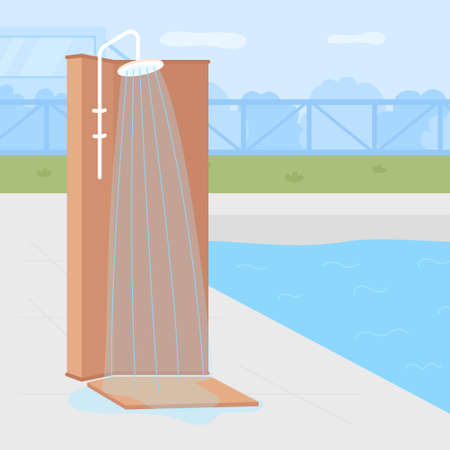 Poolside backyard shower flat color vector illustration. Recreational water illnesses prevention. Removing bacteria from body. Outdoor refreshing 2D cartoon shower with swimming pool on background