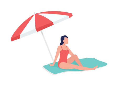 Sunbathing under sun umbrella semi flat color vector character. Relaxing figure. Full body person on white. Beach time isolated modern cartoon style illustration for graphic design and animation