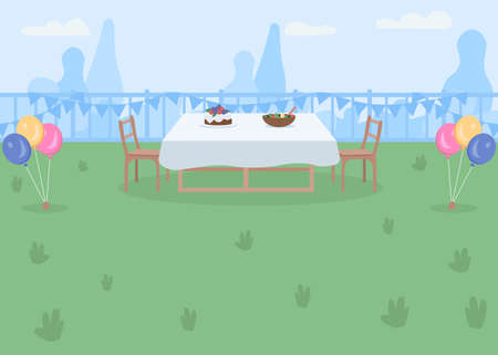 Backyard party place flat color vector illustration. Garden with table and chairs for outdoor dinner. Balloon decorations for Birthday fun. Park 2D cartoon illustration with skyline on background 矢量图像
