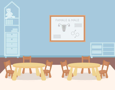 Kindergarten classroom for biology lesson flat color vector illustration. Sex education for children. Tables and chairs for kids. Preschool 2D cartoon interior with information board on background