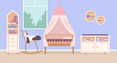 Child bedroom for newborn flat color vector illustration. Home interior with bed and toy. Playroom for toddler kids. Kindergarten room 2D cartoon interior with decorated furniture on background