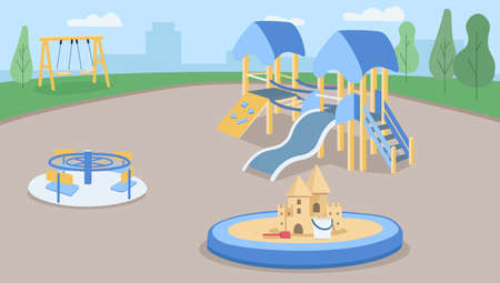 Empty playground flat color vector illustration. Zone for children outdoors. Preschool yard with sand pit. Kindergarten ground 2D cartoon characters with slides and swings for kids on background