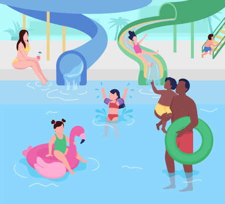 Water park for kids flat color vector illustration. Family entertainment. Attraction for children and parents. Aqua park 2D cartoon characters with tubes and slides for fun on background