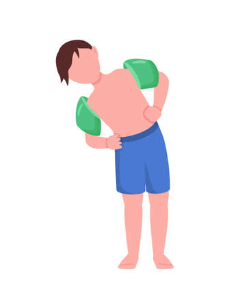 Boy with arm floaties semi flat color vector character. Kid figure. Full body person on white. Water exercise isolated modern cartoon style illustration for graphic design and animation