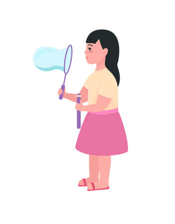 Girl blowing bubbles semi flat color vector character. Kid figure. Full body person on white. Children's fun isolated modern cartoon style illustration for graphic design and animation