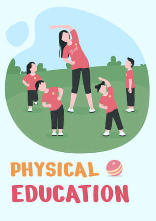 Physical education poster flat vector template. Outdoor exercise. Brochure, booklet one page concept design with cartoon characters. Kindergarten class flyer, leaflet with copy space