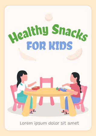 Healthy snacks for kids poster flat vector template. School packed lunch. Brochure, booklet one page concept design with cartoon characters. Diet for children flyer, leaflet with copy space