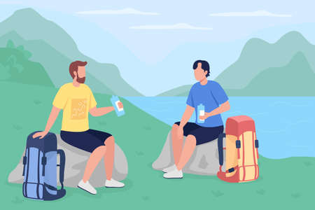 Trekkers drink water flat color vector illustration. Travelers on vacation in countryside. Backpackers sitting and resting 2D cartoon characters with panoramic wilderness on background