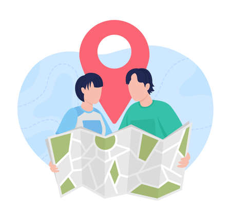 Planning trip with map 2D vector isolated illustration. Searching for vacation place abroad. Couple of travelers flat characters on cartoon background. GPS location colorful scene 矢量图像