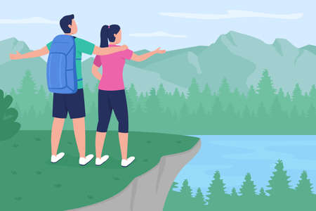 Backpacker couple in countryside flat color vector illustration. Boyfriend and girlfriend standing on peak. Trekkers enjoying view 2D cartoon characters with scenic mountains on background