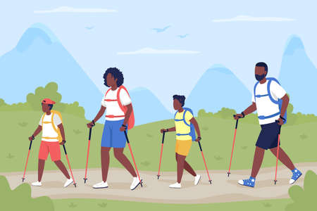 Family on vacation in countryside flat color vector illustration. Nordic walk as active recreation for bonding. Mother, father with kids 2D cartoon characters with panoramic landscape on background 矢量图像