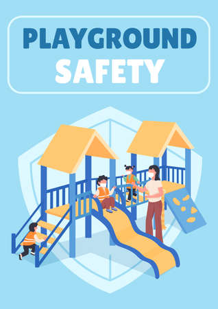 Playground safety poster flat vector template. Teacher with kids in masks. Brochure, booklet one page concept design with cartoon characters. Kindergarten healthcare flyer, leaflet with copy space 矢量图像