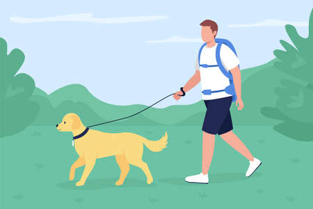 Trekker walk with dog in countryside flat color vector illustration. Man with labrador exploring trail in countryside. Backpacker 2D cartoon character with panoramic mountains on background