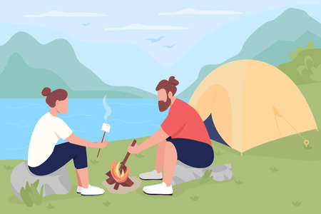 Camping in countryside flat color vector illustration. Tourists roasting marshmallows on bonfire. Couple resting near fire 2D cartoon characters with panoramic lake and mountains on background