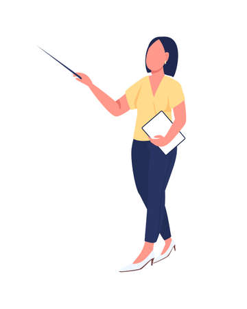 Teacher semi flat color vector character. Female coacher figure. Full body person on white. Provide training and education isolated modern cartoon style illustration for graphic design and animation