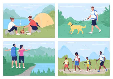 Leisure activity outdoors flat color vector illustration set. Walking on trails, resting in nature. Backpacker and camper 2D cartoon characters with panoramic countryside on background collection 矢量图像