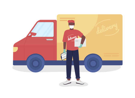 Courier with parcel and van semi flat color vector character. Postman figure. Full body person on white. Delivery service isolated modern cartoon style illustration for graphic design and animation