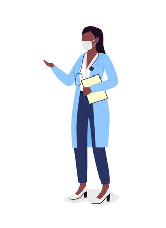 Doctor in mask semi flat color vector character. Nurse figure. Full body person on white. Provide training to new employees isolated modern cartoon style illustration for graphic design and animation