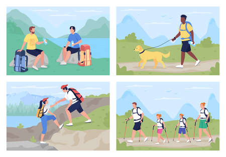 Trekkers in countryside flat color vector illustration set. Family exploring scenic trails. Different backpackers 2D cartoon characters with panoramic wilderness on background collection 矢量图像
