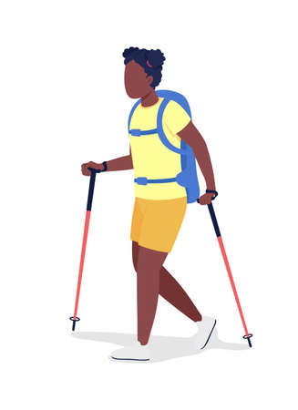 Girl with backpack hiking semi flat color vector character. Trekker figure. Full body person on white. Outdoor activity isolated modern cartoon style illustration for graphic design and animation