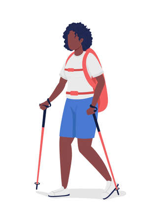 Woman on nordic walk semi flat color vector character. Trekker figure. Full body person on white. Outdoor activity isolated modern cartoon style illustration for graphic design and animation