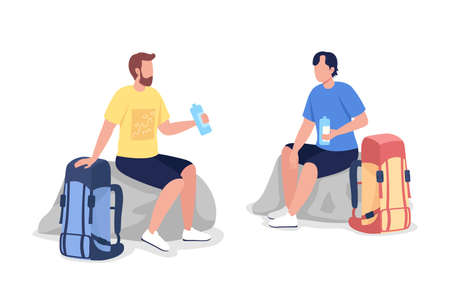 Resting hikers semi flat color vector character set. Sitting tourists figures. Full body people on white. Trip isolated modern cartoon style illustration for graphic design and animation collection 矢量图像