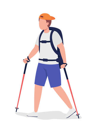 Boy on hiking trip semi flat color vector character. Trekker figure. Full body person on white. Outdoor activity isolated modern cartoon style illustration for graphic design and animation