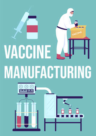 Vaccine manufacturing poster flat vector template. Medical drug production. Brochure, booklet one page concept design with cartoon characters. Health care supply flyer, leaflet with copy space