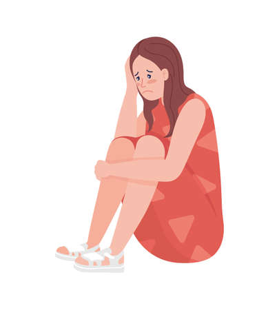 Unhappy teenager girl semi flat color vector character. Sitting figure. Full body person on white. Teen problems isolated modern cartoon style illustration for graphic design and animation