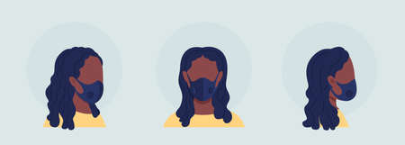 Black woman semi flat color vector character avatar with mask set. Portrait with respirator from front and side view. Isolated modern cartoon style illustration for graphic design and animation pack